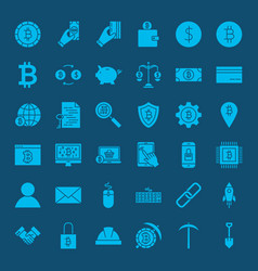 Cryptocurrency glyphs website icons vector