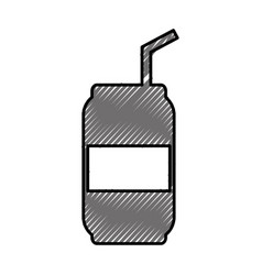 canned drink with straw vector image