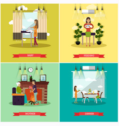Set of mother concept posters in flat style vector