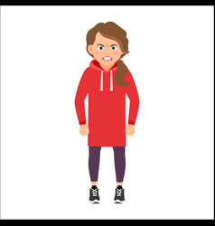 Angry girl in a red hoodie vector