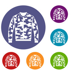 Camouflage jacket icons set vector