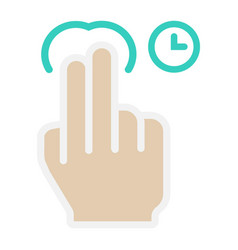 2 finger press and hold flat icon touch gesture vector image