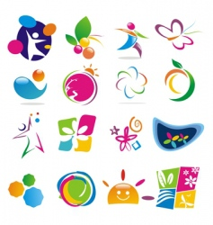 Color of life icons vector
