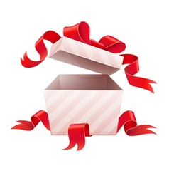 Open box with ribbon for vector image