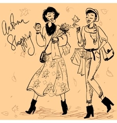 Pretty fashionable women vector