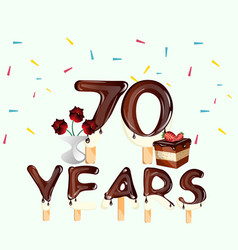 70 years happy birthday card vector