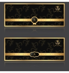 Vip set of two banners gold vector