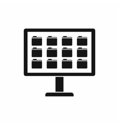 Desktop of computer with folders icon vector