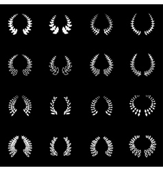 White laurel wreaths icon set vector