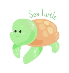 Sea turtle isolated marine animals sticker for vector