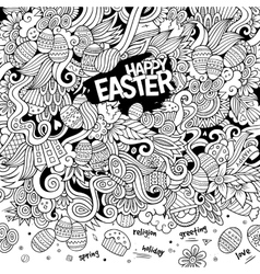 Cartoon hand-drawn doodles happy easter background vector