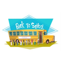 arab pupils group walking to yellow bus riding vector image