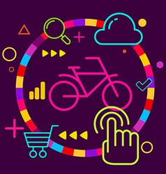 Bicycle on abstract colorful geometric dark vector image vector image