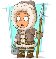 Cartoon eskimo boy with spear and fish vector