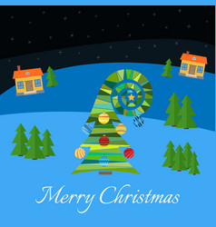 christmas tree with multi-colored toys vector image