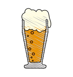Color drawing pencil cartoon foamy beer glass vector