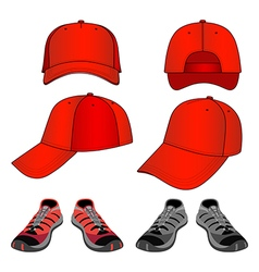 Colored sneakers baseball cap set vector