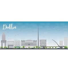 Dublin skyline with grey buildings vector