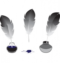 feather and inkwells vector image