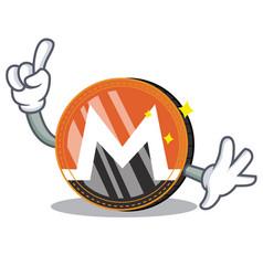 Finger monero coin character cartoon vector