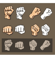 Fists - set Stock vector image vector image