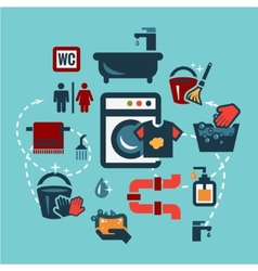 flat cleaning icons set vector image vector image