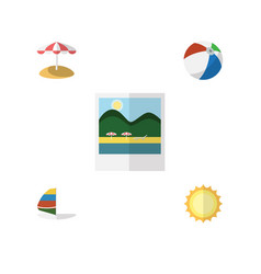 Flat hot set of surfing sunshine parasol and vector