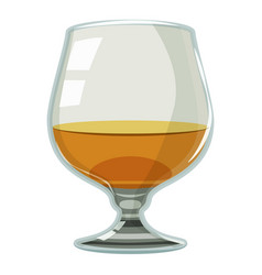 Glass of scotch or whiskey icon cartoon style vector