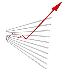 Graphical chart with red arrow up vector