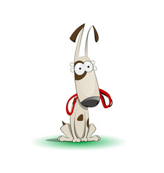 Happy cartoon puppy with leash vector
