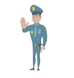 Hispanic policeman showing stop hand gesture vector