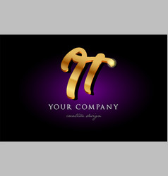 it i t 3d gold golden alphabet letter metal logo vector image vector image