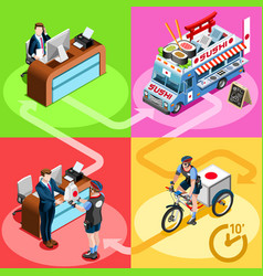 Japanese food truck sushi home delivery isometric vector