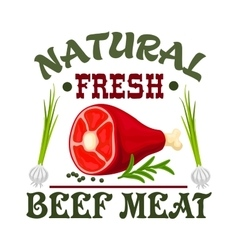 Meat shop sign fresh beef vector