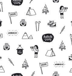 Outdoor adventures doodle pattern vector