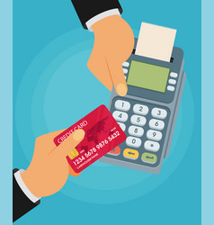 pay merchant hands credit card flat payment vector image