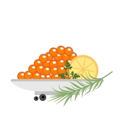 Red caviar in a plate with lemon and green icons vector