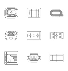 Sports complex icons set outline style vector
