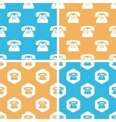 Telephone pattern set colored vector image
