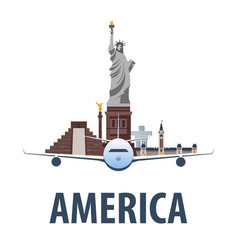 Travel emblem to america vacation trip to vector