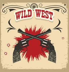 Wild west background with revolvers and text on vector