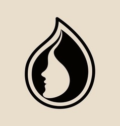 Womans face logo design template vector