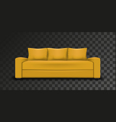 Yellow sofa on transparent background vector