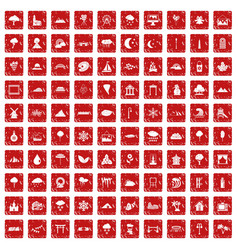 100 scenery icons set grunge red vector image vector image