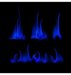 Set of different blue fire flame bonfire vector
