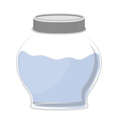 Silhouette circular glass container with water vector