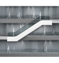 Escalator with place for advertising on center vector