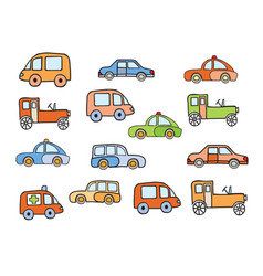 Set of toy sketches of car pictures in childish vector