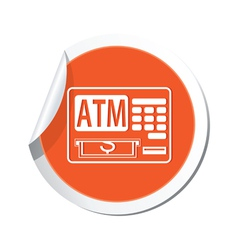 Atm cashpoint icon orange label2 vector