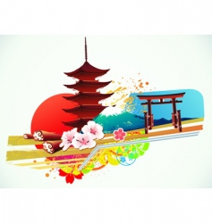 Traditional japanese background vector